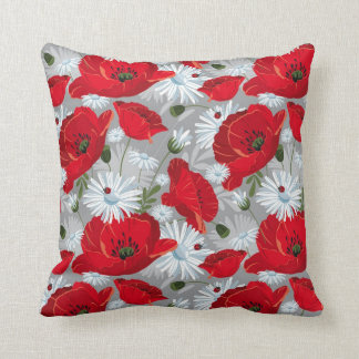 Floral Red and White Cushions