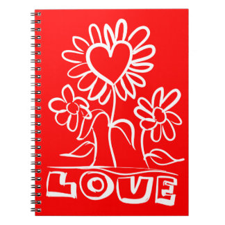 Floral Red And White Love Flowers & Hearts Spiral Notebook