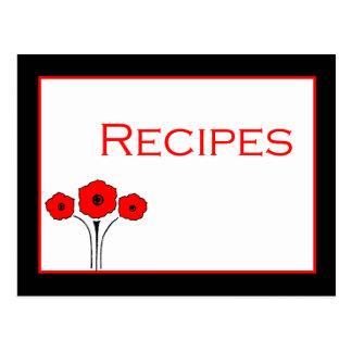 Floral Red Black White Recipe Card Postcard