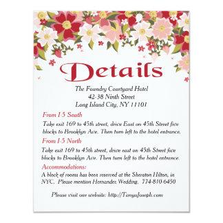 Floral Red Burgundy & Pink Flower Detail Direction 11 Cm X 14 Cm Invitation Card
