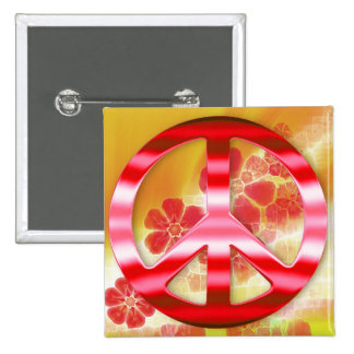 Floral Red Chrome Peace Sign Pins