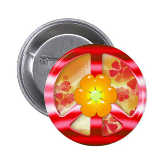 Floral Red Chrome Peace Sign Pinback Buttons