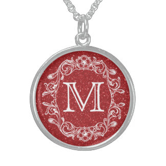 Floral Red Glitz Monogrammed Sterling Silver Necklace