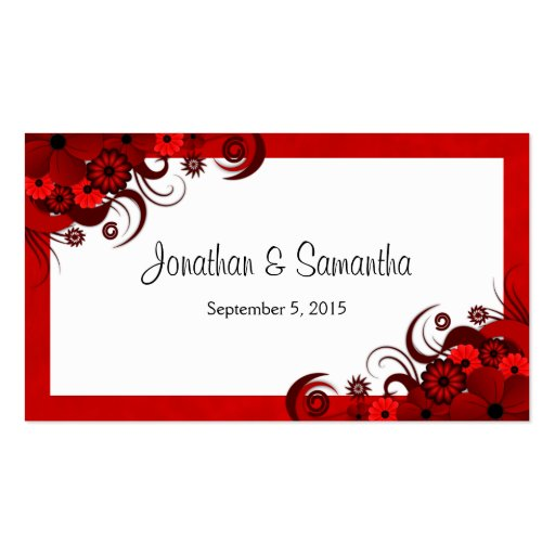 Floral Red Hibiscus Custom Wedding Favour Tags Business Card