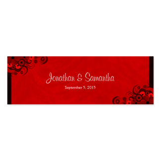 Floral Red Hibiscus Wedding Favour Favor Tags Double-Sided Mini Business Cards (Pack Of 20)