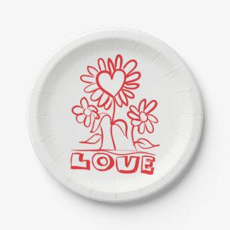 Floral Red Love Flowers & Hearts Wedding Paper Plate