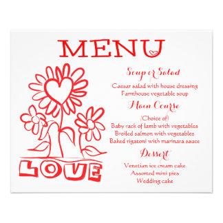 Floral Red Menu Love Flowers & Hearts Wedding