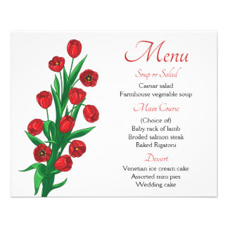 Floral Red Menu Tulips Flower  Wedding Party