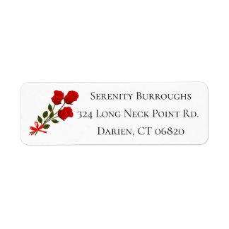 Floral Red Rose Flower Love Wedding Bridal Shower Return Address Label