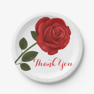 Floral Red Rose Flower Thank you - Wedding Party 7 Inch Paper Plate
