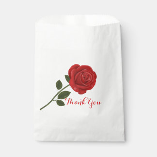 Floral Red Rose Thank You Flower Wedding Favour Bag