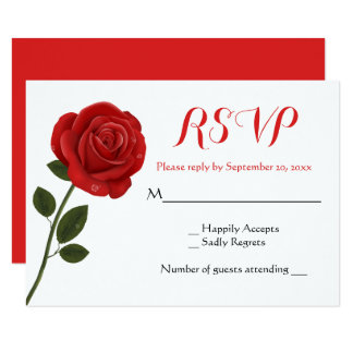 Floral Red RSVP Rose Flower Wedding Card