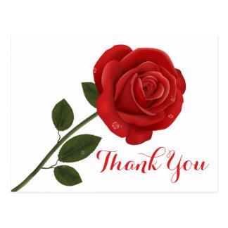 Floral Red Thank You Rose Flower - Wedding Love Postcard