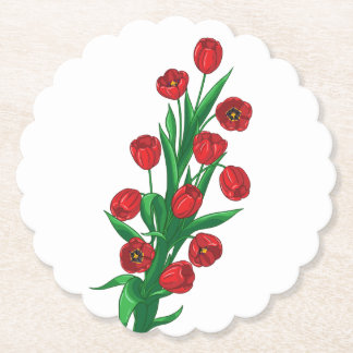 Floral Red Tulip Flowers Spring Wedding Party Paper Coaster