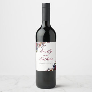 Floral Red Watercolor Wedding Wine Label