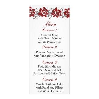 floral red Wedding menu Personalised Rack Card