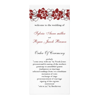 floral red Wedding program Rack Cards