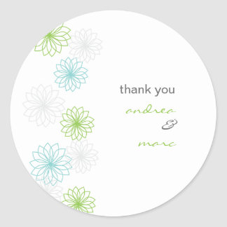 Floral Reflections Round Thank You Sticker
