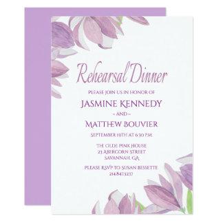 Floral Rehearsal Dinner Purple Watercolor Flowers Card