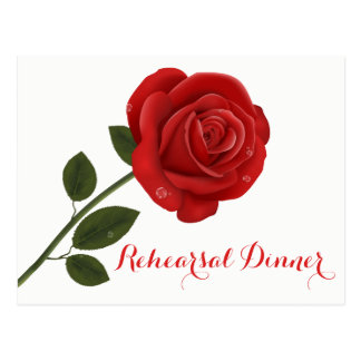 Floral Rehearsal Dinner Red Rose Flowers Wedding Postcard