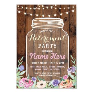 Floral Retirement Party Jar Lights Wood Invite