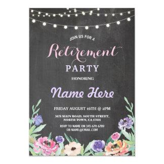 Floral Retirement Party Lights Summer Chalk Invite