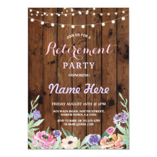 Floral Retirement Party Lights Summer Wood Invite