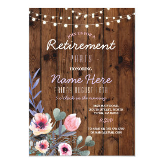 Floral Retirement Party Lights Wood Pink Invite