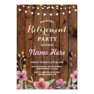 Floral Retirement Party Watercolor Wood Invite