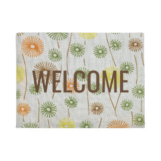 Floral Retro Abstract Colourful Welcome Flowers Doormat
