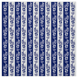 Floral retro navy pattern fabric