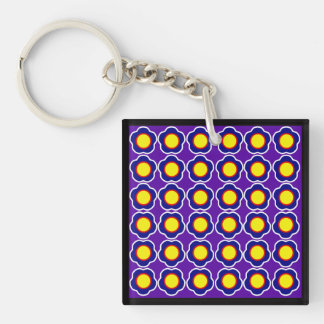 Floral Retro Pattern Double-Sided Square Acrylic Key Ring