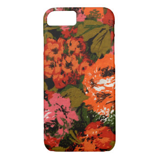 Floral Retro Pattern Large Green & Orange Blooms iPhone 8/7 Case