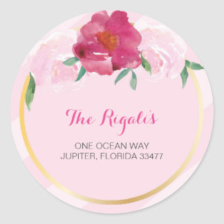 Floral Return Address Envelope Sealer Classic Round Sticker