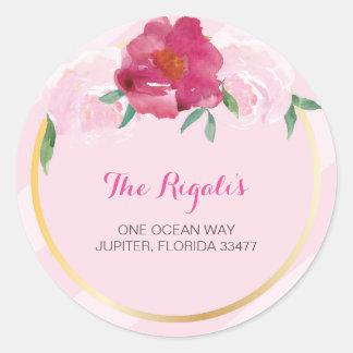 Floral Return Address Envelope Sealer Round Sticker