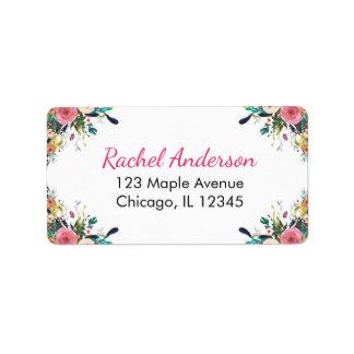 Floral return address labels, watercolor flowers address label