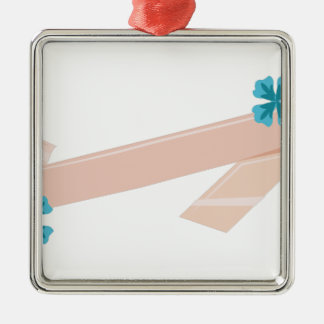 Floral Ribbon Silver-Colored Square Decoration