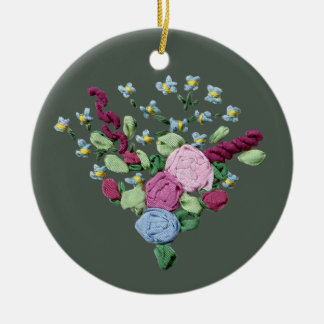 Floral Ribbon Embroidery Round Ceramic Decoration