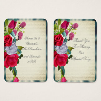 Floral romantic flower wedding thank you tag