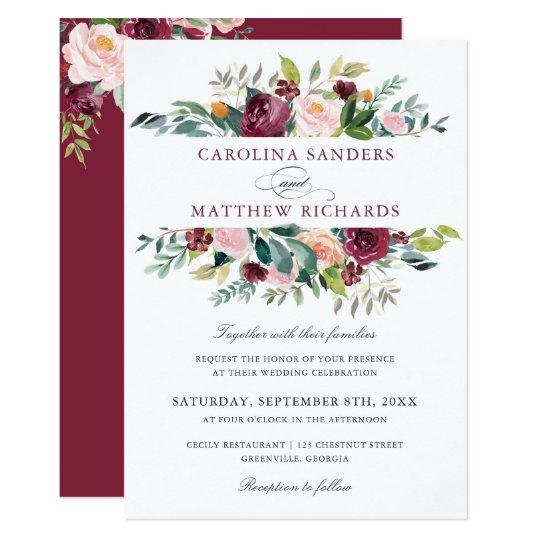 Floral Romantic Marsala Elegant Wedding Invitation