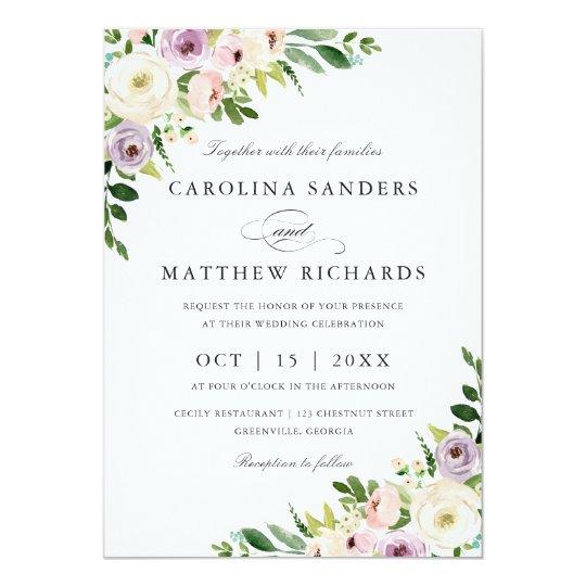 Floral Romantic Modern Elegant Wedding Invitation