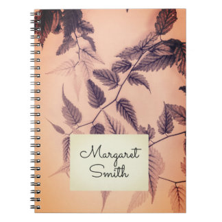 Floral, romantic notebook with your name