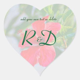 Floral Romantic Personal Initials Heart Sticker