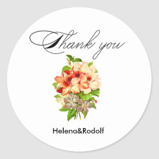 Floral Romantic Wedding Favors Customizable Classic Round Sticker