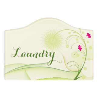 """Floral Room Sign, """"Laundry"""" Door Sign"""