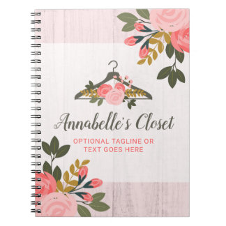 Floral Rose Clothes Hanger Closet Fashion Boutique Notebook