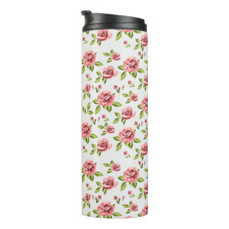 floral rose design art beautiful thermal tumbler