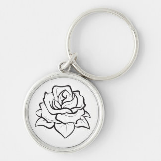Floral Rose Flower Black And White Wedding Party Key Ring