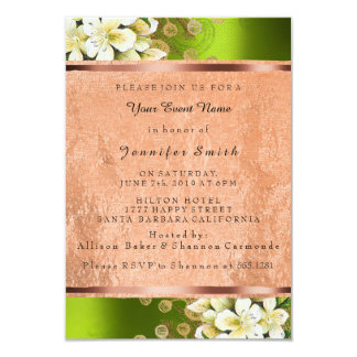 Floral Rose Gold Copper Birthday Bridal Green Card