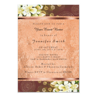 Floral Rose Gold Copper Event Green Burgundy Card